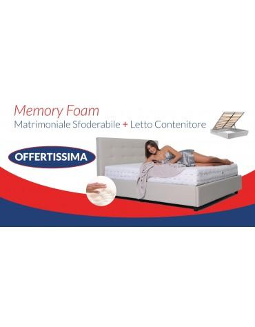 SET MATERASSO MATRIMONIALE MEMORY FOAM H 25 CON LETTO CONTENITORE
